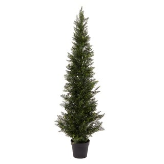Pure Garden 5-foot-tall UV-protected Indoor/Outdoor Potted Artificial Cedar Topiary Tree