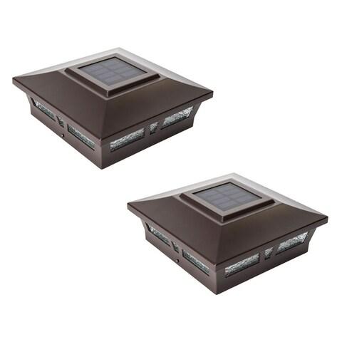 6x6 Brown Aluminum Oxford Solar Post Cap (Set of 2)