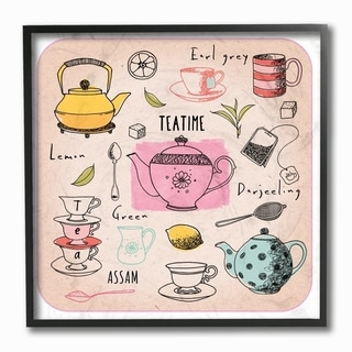 The Stupell Home Decor Teatime Tea Lover Cups Spoons Pots Pastel Line Drawing Doodles, 12 x 12, Proudly Made in USA