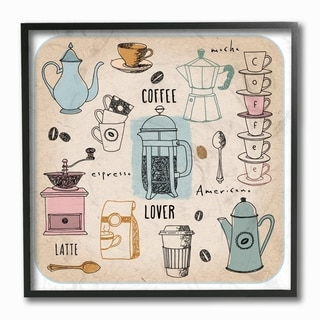 The Stupell Home Decor Coffee Lover Cups Spoons and Press Pastel Line Drawing Doodles, 12 x 12, Proudly Made in USA