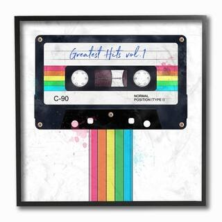 The Stupell Home Decor Vintage Greatest Hits Cassette Tape Rainbow, 12 x 12, Proudly Made in USA - Multi-Color