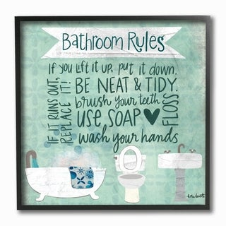 The Stupell Home Decor Aqua Blue Bathroom Rules Collage Look Typography, 12 x 12, Proudly Made in USA - Multi-Color - 12 x 12