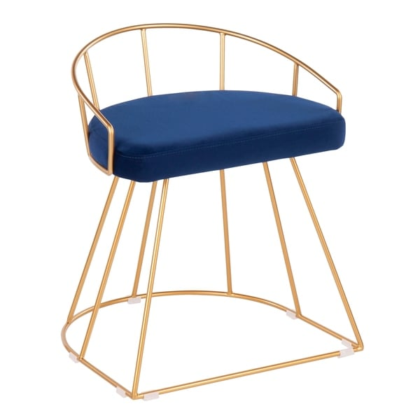 Silver Orchid Haid Gold Vanity Stool with velvet seat - N/A. Opens flyout.