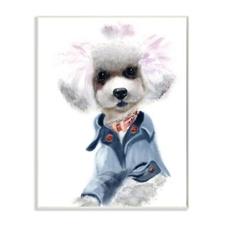 The Stupell Home Decor Watercolor Poodle In a Blue Jacket Portrait, 12 x 18, Proudly Made in USA - 12 x 18