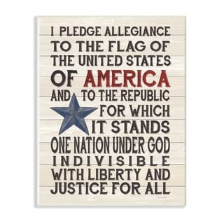 The Stupell Home Decor Pledge of Allegiance Stars and Stripes Americana Rustic Wood Look Sign, 12 x 18, Proudly Made in USA