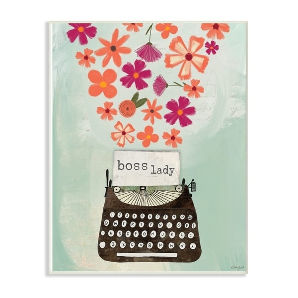 The Stupell Home Decor Boss Lady Pink and Orange Floral Explosion Typewriter, 12 x 18, Proudly Made in USA - 12 x 18