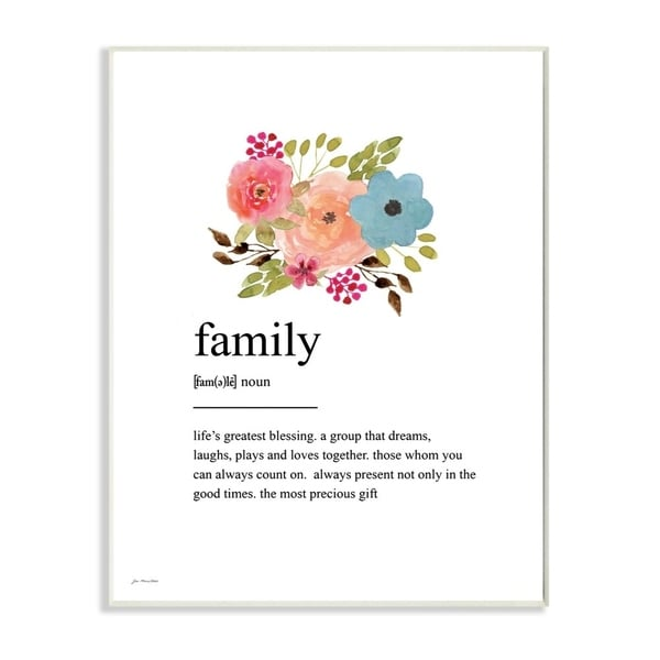 The Stupell Home Decor Pink Peach and Blue Painted Floral Simple Family Definition, 10 x 15, Proudly Made in USA - 10 x 15