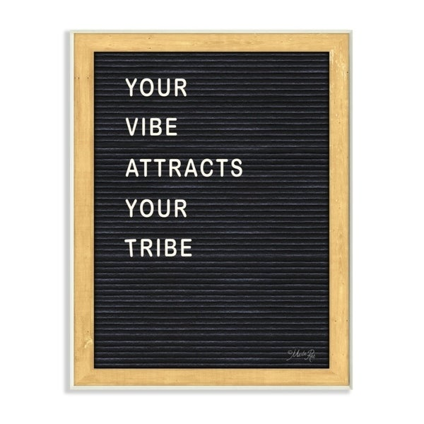 The Stupell Home Decor Your Vibe Your Tribe Black and White Framed Letter Board Look, 12 x 18, Proudly Made in USA - 12 x 18