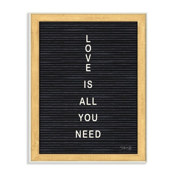 The Stupell Home Decor Love is All You Need Black and White Framed Letter Board Look, 10 x 15, Proudly Made in USA - 10 x 15