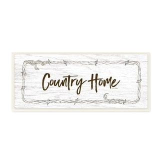The Stupell Home Decor Rustic Black and White Wood Look Country Home Sign, 7 x 17, Proudly Made in USA - 7 x 17