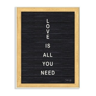 The Stupell Home Decor Love is All You Need Black and White Framed Letter Board Look, 12 x 18, Proudly Made in USA - 12 x 18