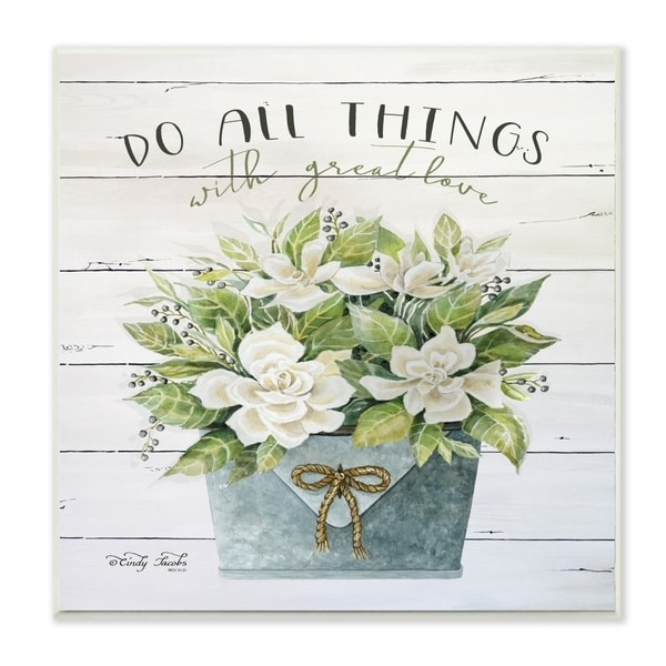 The Stupell Home Decor Do All Things With Great Love Floral Magnolia Pail Planked Look, 10 x 15, Proudly Made in USA - 12 x 12