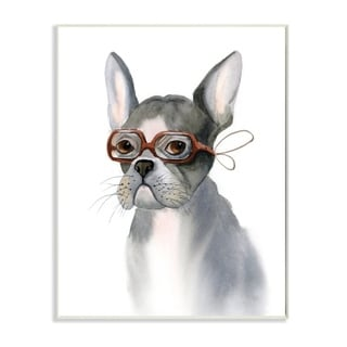 The Stupell Home Decor Neutral Watercolor Dog with Red Goggles Portrait, 10 x 15, Proudly Made in USA - 10 x 15