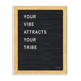 The Stupell Home Decor Your Vibe Your Tribe Black and White Framed Letter Board Look, 10 x 15, Proudly Made in USA - 10 x 15