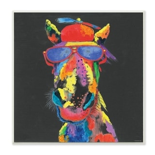 The Stupell Home Decor  Playful Horse with Sunglasses Rainbow Textural Chalk  Drawing, 12 x 12, Proudly Made in USA - 12 x 12