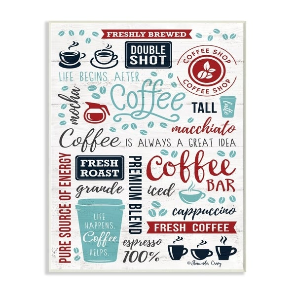 The Stupell Home Decor Blue and Red Coffee Collage Words with Cups and Beans, 12 x 18, Proudly Made in USA - 12 x 18