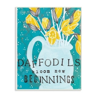 The Stupell Home Decor Daffodils Bloom New Beginnings Blue and Yellow Vase Illustration, 10 x 15, Proudly Made in USA - 10 x 15
