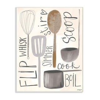 The Stupell Home Decor Flip Whisk Simmer and Stir Kitchen Spoons and Utensils, 10 x 15, Proudly Made in USA - 10 x 15