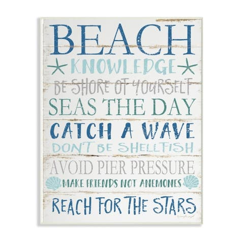 The Stupell Home Decor Beach Knowledge Blue Aqua and White Planked Look Sign, 12 x 18, Proudly Made in USA
