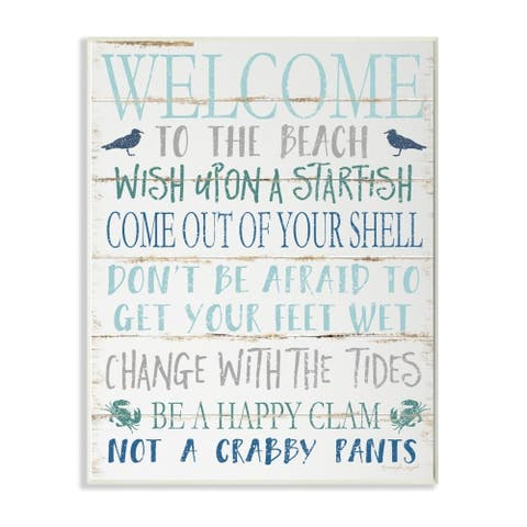 The Stupell Home Decor Welcome to the Beach Blue Aqua and White Planked Look Sign, 12 x 18, Proudly Made in USA