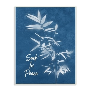 The Stupell Home Decor Soak In Peace Indigo Blue Plant Botanical Cyanotype Look, 12 x 18, Proudly Made in USA - 12 x 18