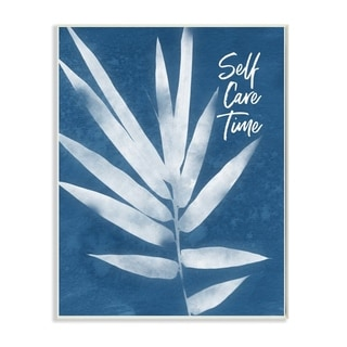 The Stupell Home Decor Self Care Time Indigo Blue Plant Botanical Cyanotype Look, 12 x 18, Proudly Made in USA - 12 x 18