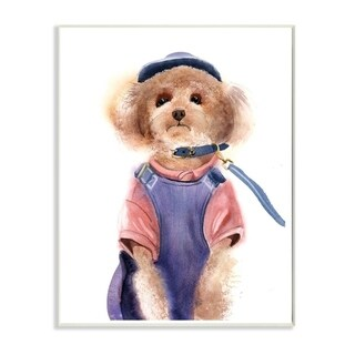 The Stupell Home Decor Watercolor Poodle Dog in Blue Jumper and Shirt Portrait, 10 x 15, Proudly Made in USA - 10 x 15