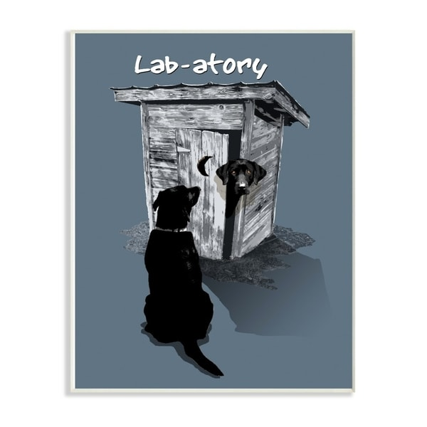The Stupell Home Decor Lab- Funny Dog Silhouette Waiting By the Outhouse, 10 x 15, Proudly Made in USA - 10 x 15