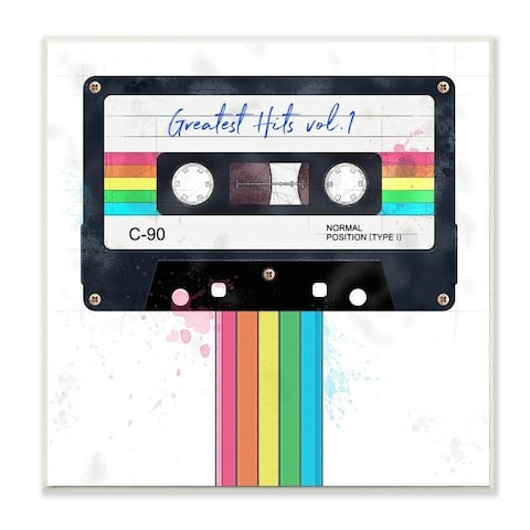 The Stupell Home Decor Vintage Greatest Hits Cassette Tape Rainbow, 12 x 12, Proudly Made in USA - 12 x 12