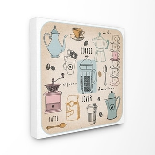 The Stupell Home Decor Coffee Lover Cups Spoons and Press Pastel Line Drawing Doodles, 17 x 17, Proudly Made in USA