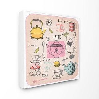 The Stupell Home Decor Teatime Tea Lover Cups Spoons Pots Pastel Line Drawing Doodles, 17 x 17, Proudly Made in USA