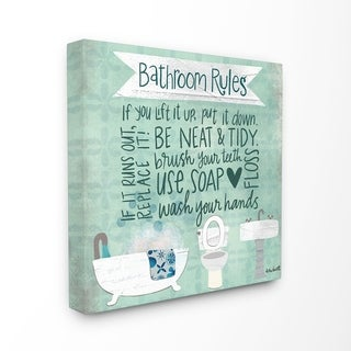 The Stupell Home Decor Aqua Blue Bathroom Rules Collage Look Typography, 17 x 17, Proudly Made in USA - Multi-Color