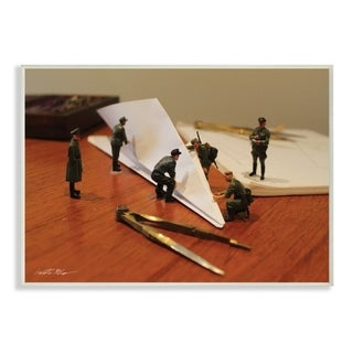 The Stupell Home Decor Comical Toy Army Men Scene Building a Paper Plane, 12 x 18, Proudly Made in USA - 12 x 18
