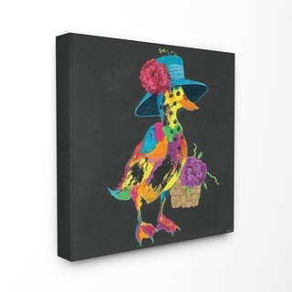 The Stupell Home Decor Playful Duck with Hat Rainbow Textural Chalk Drawing, 17 x 17, Proudly Made in USA - Multi-Color