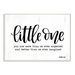 The Kids Room By Stupell Little One Black and White Script Typography with Wood Look, 12 x 18, Proudly Made in USA - 12 x 18