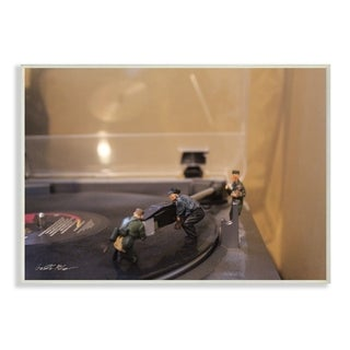The Stupell Home Decor Comical Toy Army Men Scene Playing Music on Record Player, 12 x 18, Proudly Made in USA - 12 x 18
