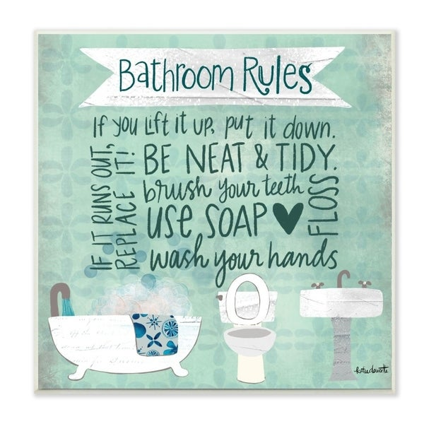 The Stupell Home Decor Aqua Blue Bathroom Rules Collage Look Typography, 12 x 12, Proudly Made in USA - 12 x 12