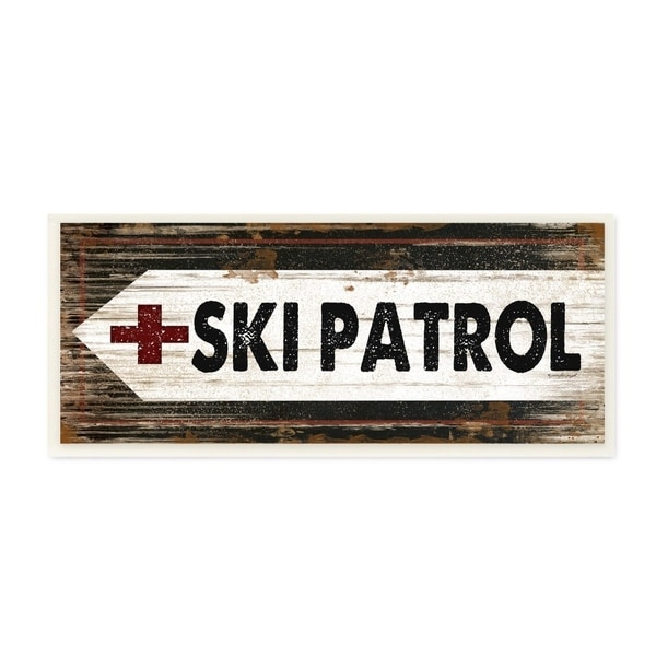 The Stupell Home Decor Black White and Red Ski Patrol Rustic Wood Look Sign, 7 x 17, Proudly Made in USA - 7 x 17