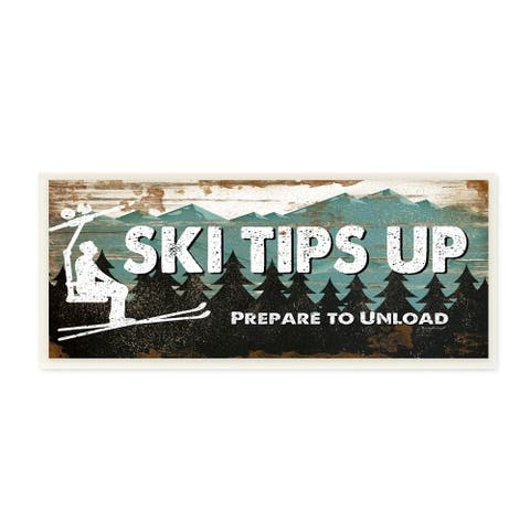 The Stupell Home Decor Blue and White Ski Tips Up Prepare to Unload Rustic Wood Look Lift Sign, 7 x 17, Proudly Made in USA