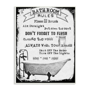 The Stupell Home Decor Distressed Bathroom Rules Typography with Claw Foot Tub, 10 x 15, Proudly Made in USA - 10 x 15