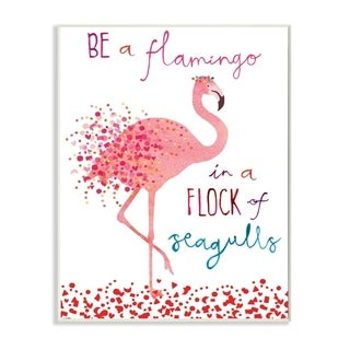 The Stupell Home Decor Be A Flamingo Peach and Pink Spotted Illustration with Typography, 10 x 15, Proudly Made in USA