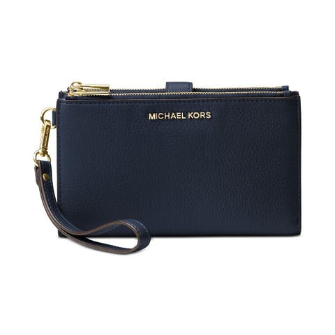 1ba0069ca1e1 MICHAEL Michael Kors Adele Double-Zip Pebble Leather Phone Wristlet Admrial