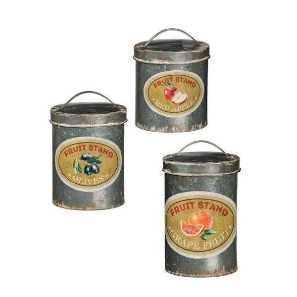 """Rustic Apple, Olive, & Grape Fruit Oval Canisters - Set of 3 - 7, 7, 7""""L x 5, 5, 5""""W x 12, 10.5, 9""""H"""