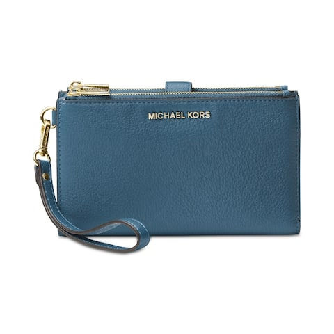 f2d9ff22fa1a MICHAEL Michael Kors Adele Double-Zip Pebble Leather Phone Wristlet Dark  Chambray