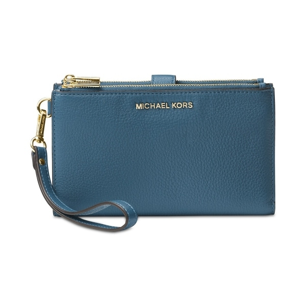f3cba7dc14ff MICHAEL Michael Kors Adele Double-Zip Pebble Leather Phone Wristlet Dark  Chambray