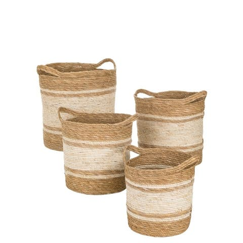 """Handled Woven White & Natural Round Baskets - Set of 4 - 20,17,16,14""""Lx16,14,13.5,12""""Wx18,15.5,14.5,13.5""""H"""