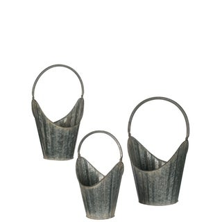 "Ribbed Metal Handled Baskets - Set of 3 - 13,10.75,9.5""Lx9.75,8.25,7.25""Wx12,9.5,10""H"