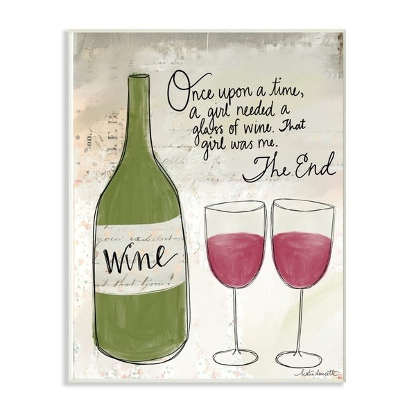 The Stupell Home Decor Once Upon a Wine Red Wine Glasses Story Typography, 10 x 15, Proudly Made in USA - 10 x 15