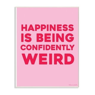 The Stupell Home Decor Happiness Is Being Confidently Weird Red Pink Neon Typography, 10 x 15, Proudly Made in USA - 10 x 15