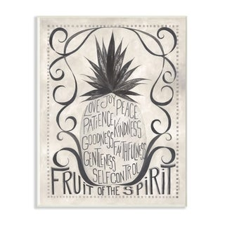 The Stupell Home Decor Grey and White Rustic Pineapple Fruit of the Spirit Typography, 12 x 18, Proudly Made in USA - 12 x 18